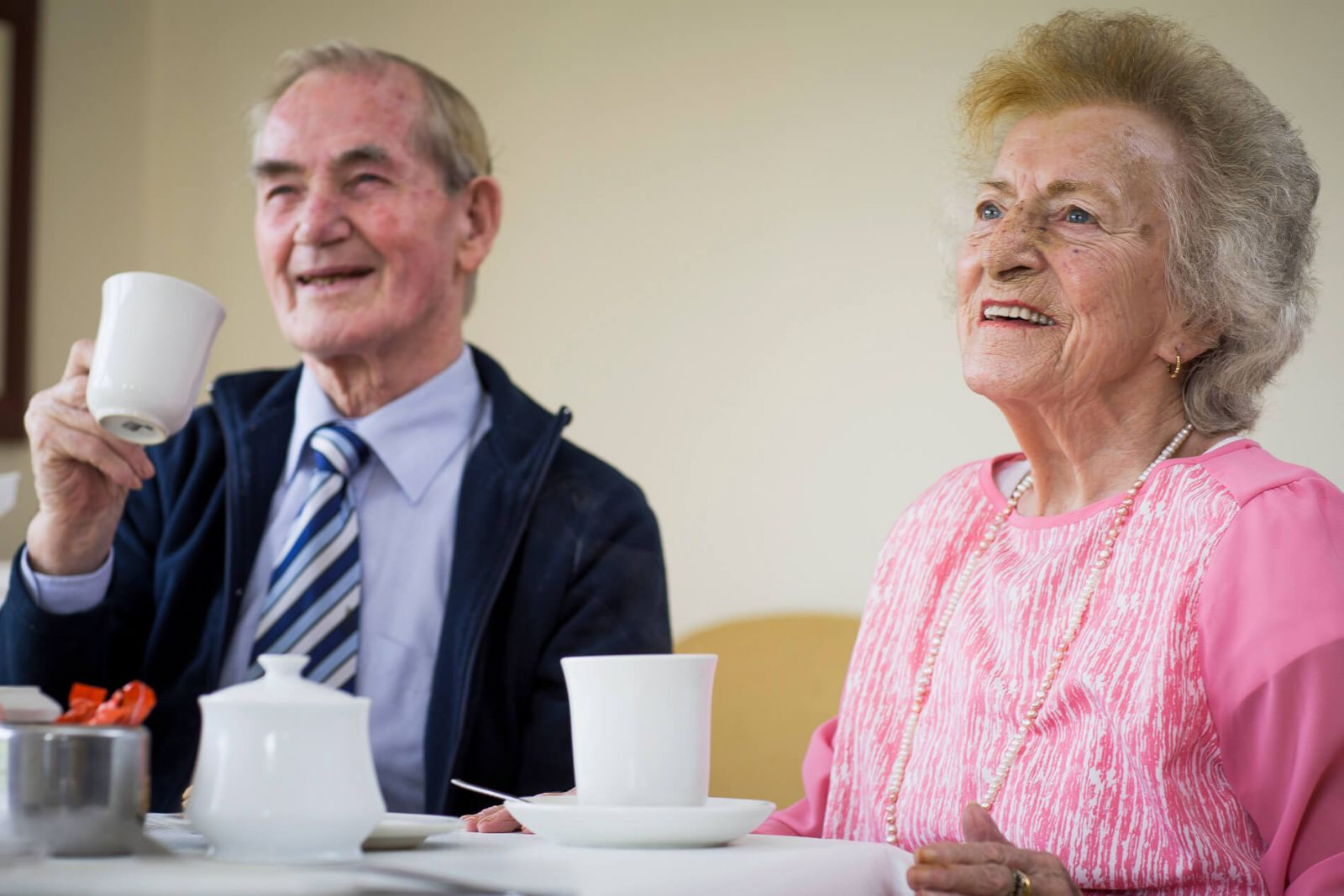 Residents having a laugh over a cup of tea